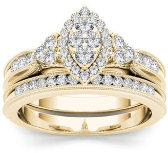 Imperial Diamond Imperial 1/2 Carat T.W. Diamond Marquise Framed Cluster 10kt Yellow Gold Engagement Ring Set