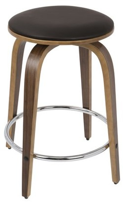 Lumisource Porto Mid-Century Modern Counter Stool in Walnut and Brown Faux Leather with Chrome Footrest by Set of 2
