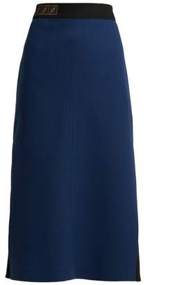 Fendi Ff Jacquard Wool Crepe Midi Skirt - Womens - Dark Blue