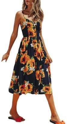 Aurorax 2018 Women Dresses,Sexy Spaghetti Straps Summer Dress Maxi Dress Wirh Pockets Clubwear for Party Holiday Beach