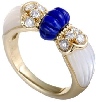 Mauboussin 18K Yellow Gold 0.45ct Diamond Lapis Lazuli and Mother of Pearl Band Ring Size 5.5