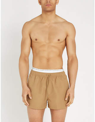 Calvin Klein Logo-waist mesh-lined drawstring swim shorts