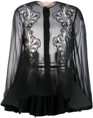 Antonio Berardi lace-panelled chiffon shirt