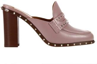 Valentino High Heel Shoes Rockstud Leather Sandal With Heel And Metal Studs