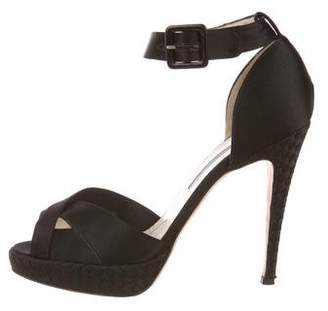Brian Atwood Satin Ankle-Strap Sandals