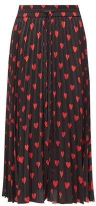 RED Valentino Heart Print Pleated Midi Skirt - Womens - Black Multi