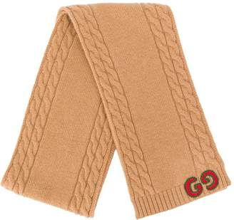 Gucci Kids cable knit trim scarf