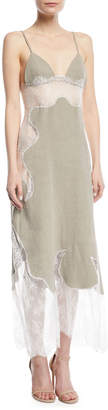 Off-White Off White Linen Lace Slip Dress