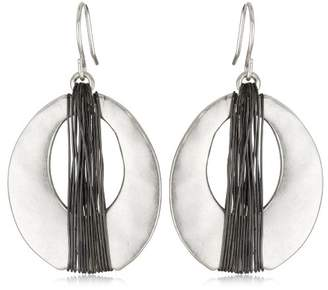 Kenneth Cole New York Tone and Hematite-Color Wire Wrapped Oval Hoop Drop Earrings