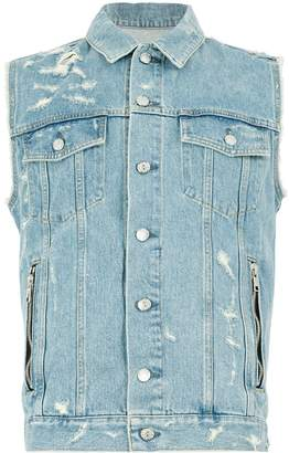 Balmain sleeveless denim shirt jacket