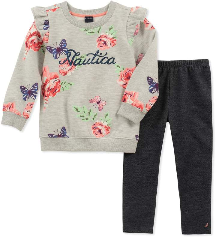 Nautica 2-Piece Long Sleeve Floral Top and Legging Set in Grey