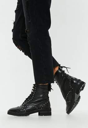 Missguided Black Real Leather Studded Ankle Biker Boots