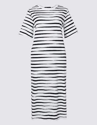 M&S Collection Pure Cotton Striped Short Sleeve Shift Dress