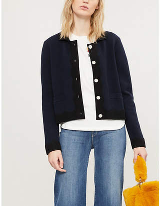 Claudie Pierlot Milano scallop-edged cotton-cashmere cardigan