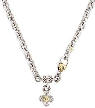 Judith Ripka Diamond Clover Charm Necklace