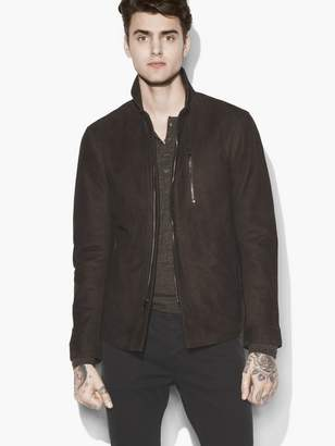 John Varvatos Wire Collar Suede Jacket