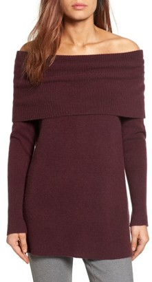 Women's Halogen Cashmere Off The Shoulder Sweater $169 thestylecure.com
