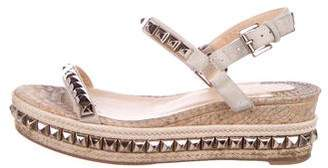 Christian Louboutin Cataclou 60 Studded Espadrille Wedges