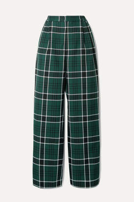 Rosie Assoulin Wowzer Checked Woven Straight-leg Pants - Dark green