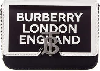 Burberry Small Tb Logo Print Leather Shoulder Bag