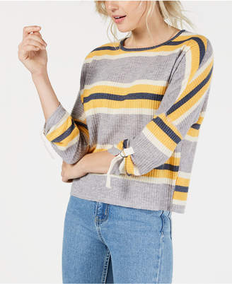 Self Esteem Juniors' Striped Waffle-Textured Top