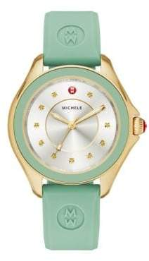 Michele Cape Honey Topaz, Goldtone Stainless Steel & Silicone Strap Watch