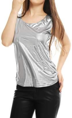 Allegra K Women's Sleeveless U Neck Slim Fit Metallic Tank Top L