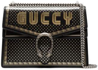 Gucci Black And Metallic Gold Dionysus Medium Leather Bag