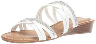 Sugar Women's Day Off Casual Demi-Wedge Strappy Sandal Slide with Rhinestones