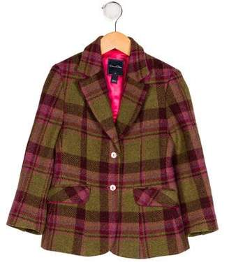 Oscar de la Renta Girls' Plaid Wool Blazer