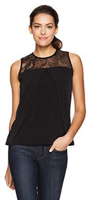Nine West Women's Solid Ity Cami with Lace Detailing
