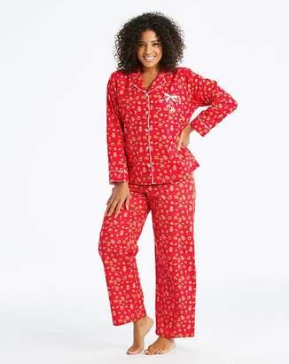 Joe Browns Christmas Gingerbread Print Flannel PJ Set