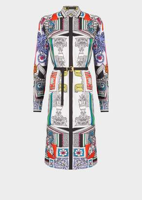 Versace Il Tempio Print Silk Shirt Dress