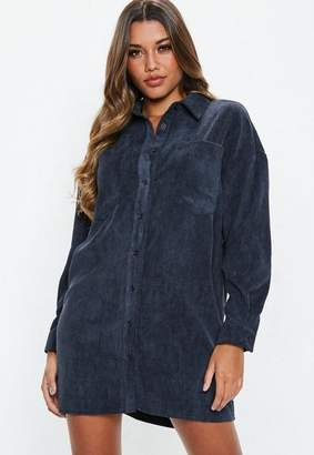 Missguided Navy Oversized Cord Shirt Dress