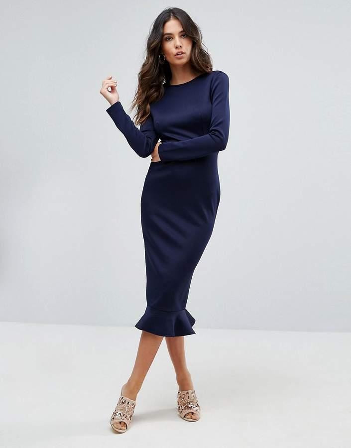 Office Long Sleeve With Peplum Frill Hem Bodycon Midi Dress