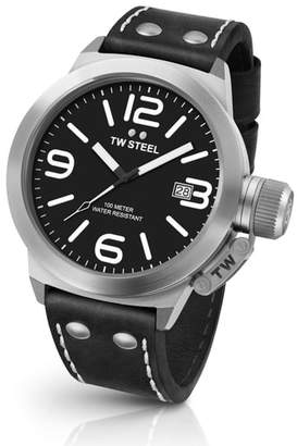 TW Steel Canteen Leather Strap Watch, 50mm