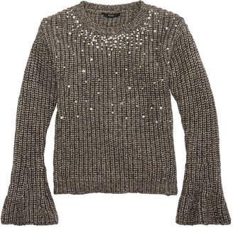 GUESS Big Girls Pearl-Trim Metallic Sweater