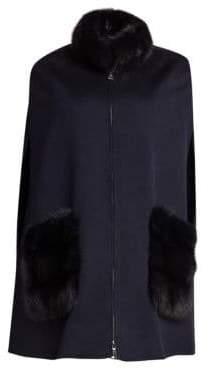 Manzoni 24 Sable Fur-Trim Wool-Blend Poncho