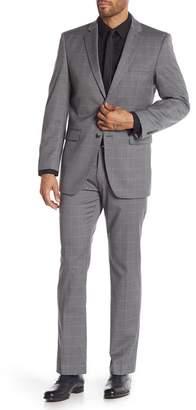 Perry Ellis Gray Herringbone Two Button Notch Lapel Trim Fit Suit