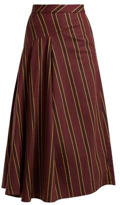 Palmer Harding Palmer//Harding Palmer//harding - Striped Cotton Blend Twill Midi Skirt - Womens - Burgundy