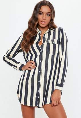 Missguided Petite White Stripe Denim Shirt Dress