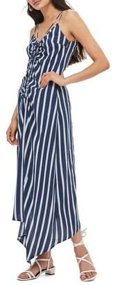 Topshop Stripe Ruched Slipdress