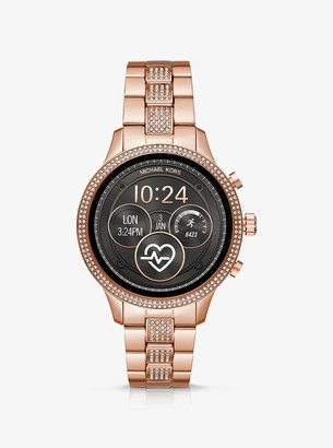 Michael Kors Runway Heart Rate Pave Rose Gold-Tone Smartwatch