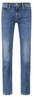 HUGO BOSS Slim-fit stretch-denim blue jeans with contrast stitching