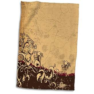 3D Rose Burgundy and Tan Cracked Grunge Background with A Flourish Hand/Sports Towel 15 x 22