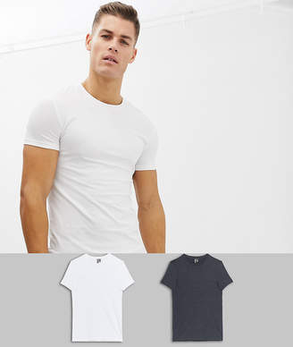 Asos Design DESIGN organic muscle fit crew neck t-shirt with stretch 2 pack multipack saving