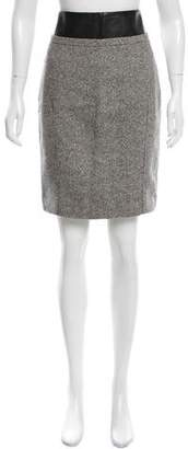 Kaufman Franco Kaufmanfranco Leather-Trimmed Tweed Skirt