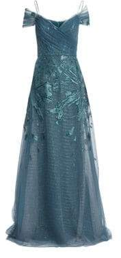 Teri Jon by Rickie Freeman Off-The-Shoulder Embellished Tulle Gown
