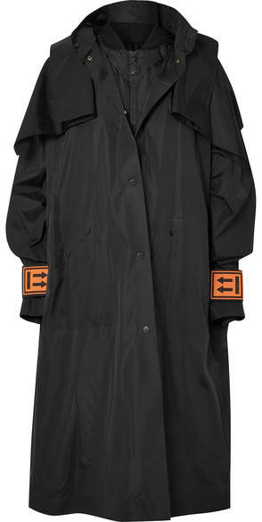 Convertible Oversized Hooded Shell Coat - Black