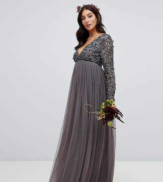 Maya Maternity long sleeve wrap front maxi dress with delicate sequin and tulle skirt in charcoal